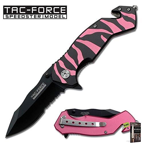 (SPRING-ASSIST FOLDING POCKET KNIFE   Tac-Force Pink Black Tiger Stripes Serrated Knife + Free eBook by SURVIVAL STEEL)