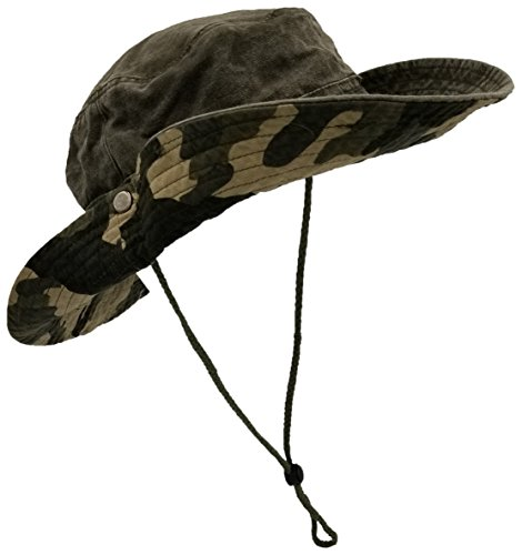 Outdoor Summer Boonie Hat for Hiking, Camping, Fishing, Operator Floppy Military Camo Sun Cap for Men or Women (Army Green)]()