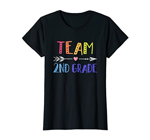Womens Team 2nd Second Grade Teacher Shirts 1st Day of School Large Black