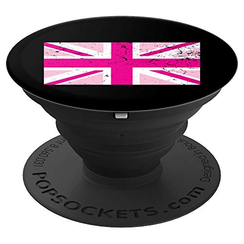 (Pink Union Jack Distressed Flag United Kingdom Cool Gift PopSockets Grip and Stand for Phones and Tablets)