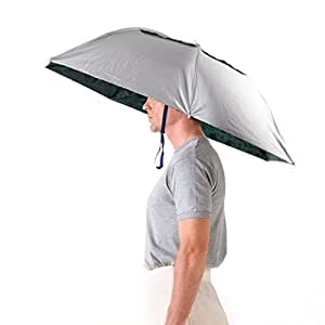Luwint 36'' Diameter Elastic Fishing Gardening Folding Umbrella Hat Headwear, Silver