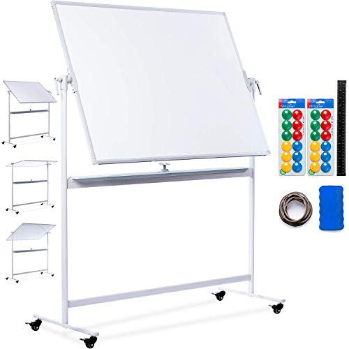 - Mobile Whiteboard | 48x36 Large Rolling Whiteboard Planner with Stand on Wheels - Dry Erase Mobile Magnetic Classroom White Board Double Sided + 24 Dots, 10 Gridding Tapes, Ruler, Eraser
