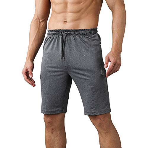 Gerlobal Men's Workout Shorts Gym Training Acitve Shorts Athletic Basketball Running Shorts Light Grey,Large ()