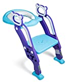 : Toddler Toilet Training Seat with Non-Slip Ladder: Foldable Padded Potty Trainer with Step for Girls and Boys (Blue Purple)