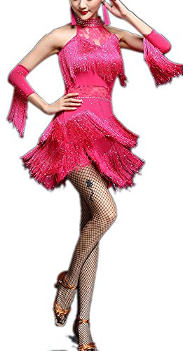 Latin Rumba Cha Cha Samba Salsa Tango Halter Halloween Dance Dress Costume Bling, Pink, 6 / 8