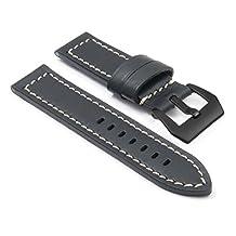 DASSARI Bentley Black w/ White Stitching Vintage Leather Watch Band for Panerai w/ Matte Black Pre V Buckle size 20mm