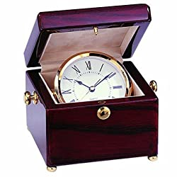 Quartz Brass Clock Swinging in a Gimbal High Gloss Piano Finish Rosewood Box, includes Personalization