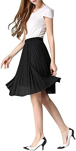 QINGFANG Junior Girls Dancing Skirt Knee Length Chiffon Pleated A-Line Midi Skirts