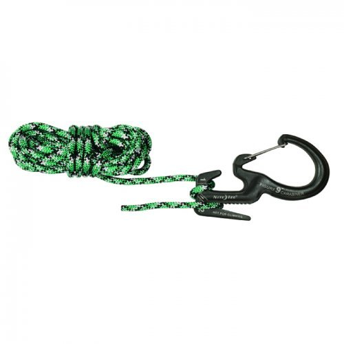 Nite Ize Large Figure 9 Carabiner with Rope - Rope Tightener with Carabiner Clip, Black, - Rope 9 Tool Figure Tightener