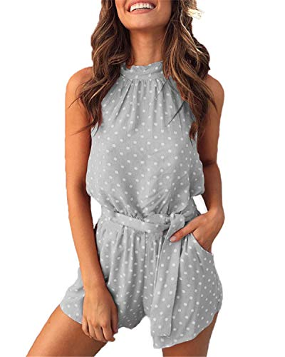 - Mai Poetry Women's Romper - Sleeveless Halter Neck Polka Dot Backless Belt Romper Shorts Jumspuit with Pockets (Large, Polka Dot-Grey)