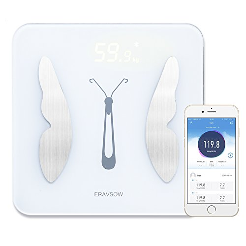 ERAVSOW Bluetooth Body Fat Scale Smart Digital bathroom scale Body Composition Analyzer with Free IOS and Android APP To Monitor Weight,BMI,BMR,V-fat,Muscle Mass,Bone Mass,Water LED Display White