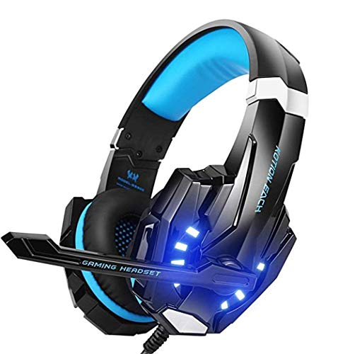 - DDPP Stereo Gaming Headset for PS4, PC, Xbox One Controller, Noise Cancelling Headphones, with Microphone, LED Light, Bass Surround, Soft Memory Earmuffs for Notebooks,Blue