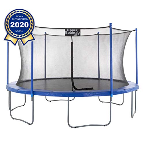 Upper Bounce 16 FT Round Trampoline Set with Safety Enclosure System - Blue