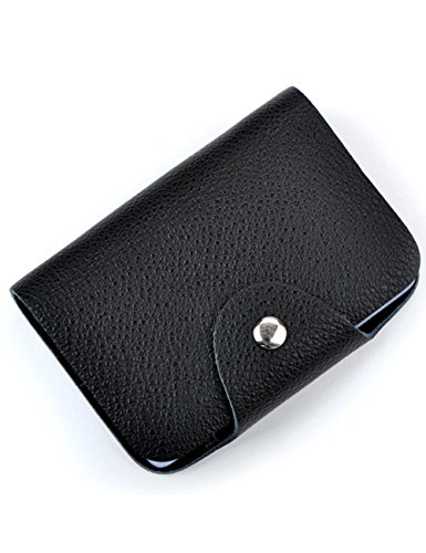 Aladin Unisex Small Leather Credit Card Holder with 26 Plastic Card Slots Black