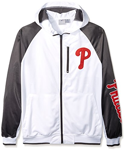 - Profile Big & Tall MLB Philadelphia Phillies Men's Full Zip Tricot Logo Sleeve Track Jacket with Wordmark, 3X, White/Charcoal