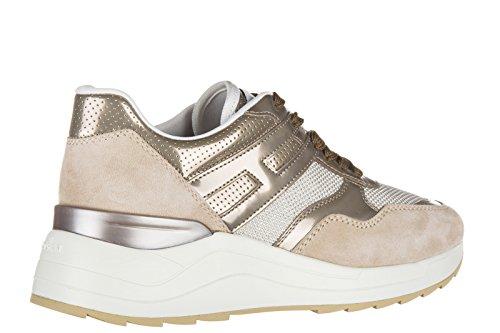 Hogan Rebel scarpe sneakers donna camoscio nuove r296 allacciato beige