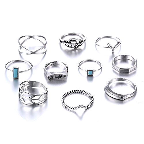 EAN Fashion Crystal Joint Nail Ring Set Vintage Bohemian Various Styles Finger Rings Punk Ring Gift
