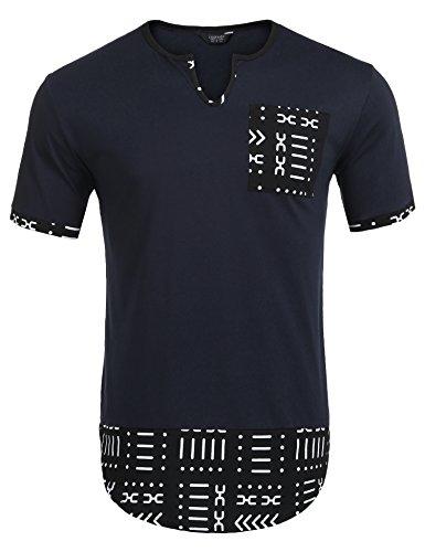 COOFANDY Mens Hipster Hip Hop Aztec Graphic Print Longline T-Shirt Stylish Designs V Neck Tee Shirt (Aztec Pattern Shirt)