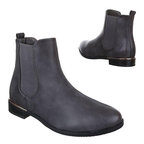Ital-Design Chelsea Boots Damenschuhe Chelsea Boots Blockabsatz Blockabsatz Stiefeletten Dunkelgrau ZH672-1