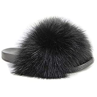 NewYouDirect Fur Slides for Women,Quality Long Fur Womens Slides Fuzzy Sandals Flip Flop Furry Slides Soft Flat for Indoor Outdoor (Black, 8-9)