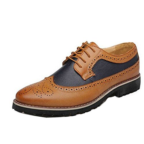 Oxford Men Spring Business Eyelet Yellow Fashion Gaorui Nude Leather Lace Shoe Party up Brogue Formal 5RYdZ5xqw