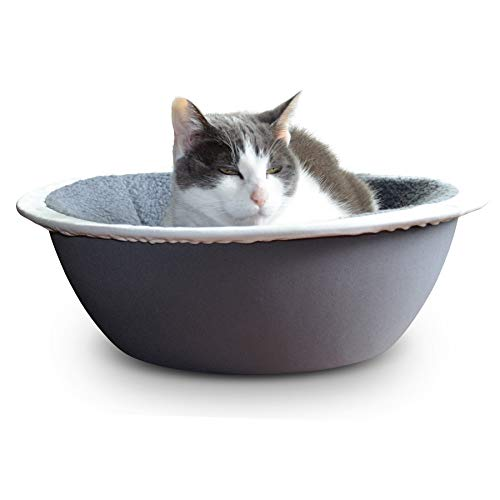 Hepper – Nest Cat Bed – Modern Cat Furniture – Cat Bowl with Removable & Washable Fleece Liner – Grey/White