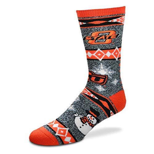 For Bare Feet NCAA Ugly Christmas Holiday Snowman Socks-Oklahoma State ()