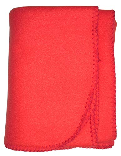 Bambini Baby Unisex Red Solid Color Pastel Soft Polar Fleece Blanket