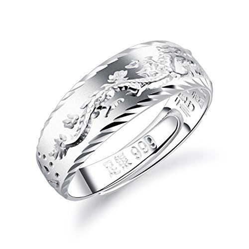 (Fate Love Sterling Silver Dragon Rings Comfort Fit Wedding Band for Men)