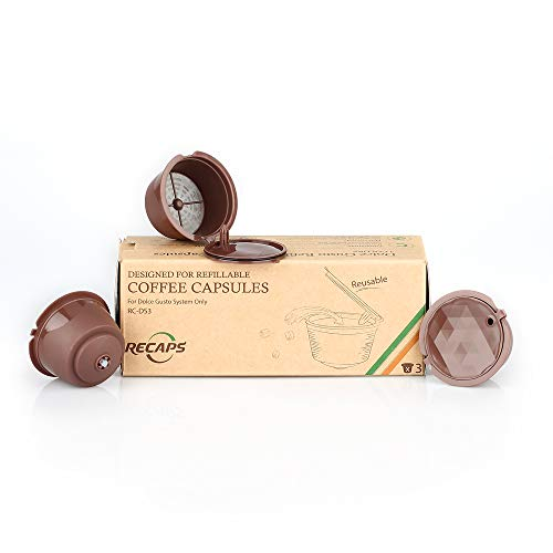 RECAPS Refillable Coffee Capsules Pods for Nescafe Dolce Gusto Brewers 3 Pcs Brown Update Version Rich Crema