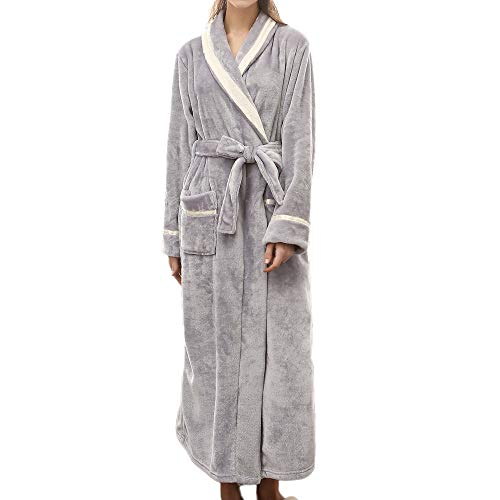 (VOYOAO Womens Plush Robes Dressing Gown Soft Full Length Kimono Bathrobe (2XL-large/3XL-Large,Grey))