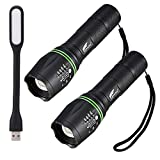 Flashlights 2 Pack, Hausbell T6 LED Flashlight 5 Modes Gifted with Free Mini USB LED Lamp
