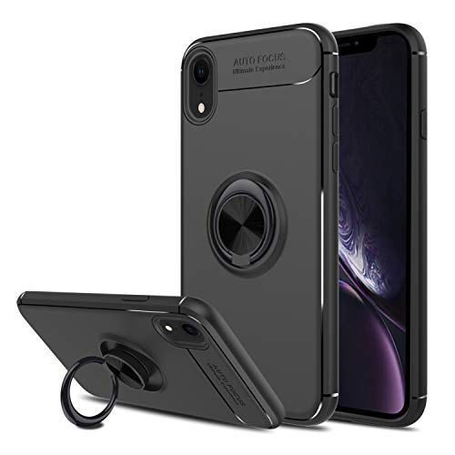 Liwarace Compatible iPhone XR Case with Ring Holder Kickstand, 360 Degree Rotatable Ring Stand Fit Magnetic Car Mount Slim Soft TPU Protective Case Cover Compatible with Apple iPhone XR (Black)