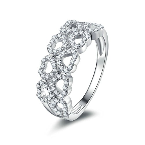 AmDxD Jewelry Silver Plated Women Promise Customizable Rings Hollow Heart CZ Size 8.5,Engraving by AMDXD