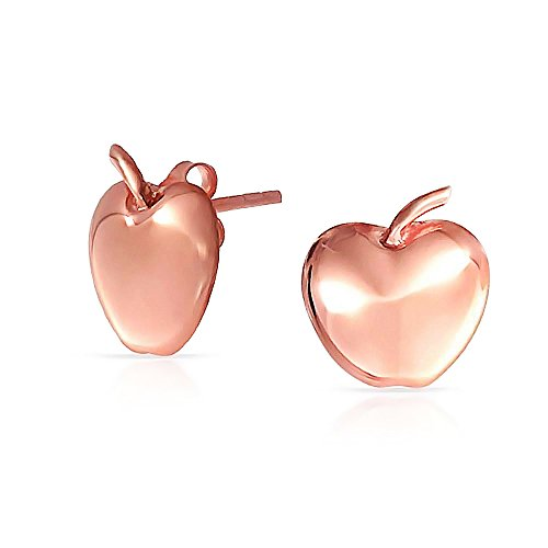 Fruit Teacher Pet Apple Of My Eye Apple Stud Earrings For Women For Teen Rose Gold Plated 925 Sterling Silver