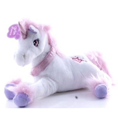33cm Fluffy Blanc Peluche Unicorn Avec Fluffy Mane & Étincelle Collar - jouets pour filles