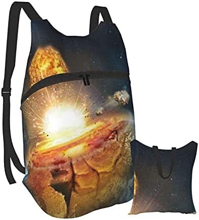 Risating Opvouwbare draagbare rugzak voor mannen vrouwen crash the Earth lichtgewicht vrijetijdstas waterbestendig duurzaam kleine casual handige outdoor tas voor wandelen kamperen
