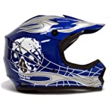 TMS Youth Kids Blue/silver Skull Dirt Bike Motocross Helmet Mx (Small)