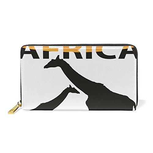 Womens Africa Giraffe Purse Genuine Clutch Wallets Zip Long Leather Handbags by XinMing