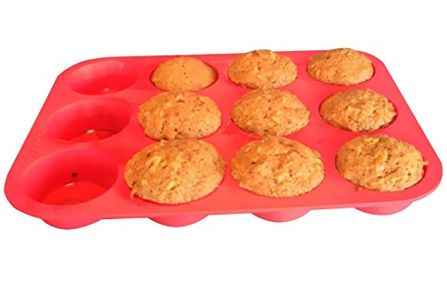 Clearance Sale - Ozera 2 Pack Silicone Muffin Pan / Cupcake Pan Cupcake Mold 12 Cup, Red by Ozera (Image #6)