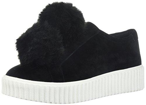 La Fixation Talon Femme Slip-on Poms Fashion Sneaker Noir Daim