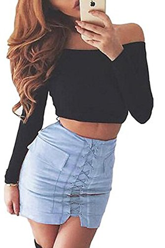 Simple-Fashion Jupes Femme Elegante Traverser Bandage Court Jupes de Cocktail Party Jeune Fashions Couleur Unie Moulante Package Hanche Mini Jupe Bleu Clair