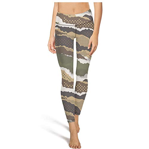 - MIENTITE Riding high Waisted Leggings for Women Capris Yoga Pants Abstract Mimetic Dotted Camouflage Footless Legging