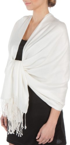 Sakkas Silky Solid Soft Pashmina Shawl Wrap Stole - (White Shawl Dinner)