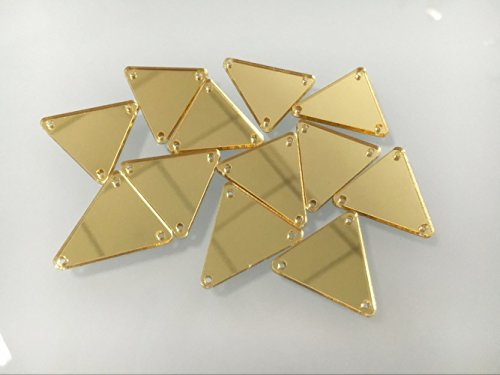 50PCS Sew on triangle mirror piece , DIY Mirrored Rhinestones For Costume Evening Dresses Cloth Garment Decoration Accessory (2x2cm, Gold) by MEYA