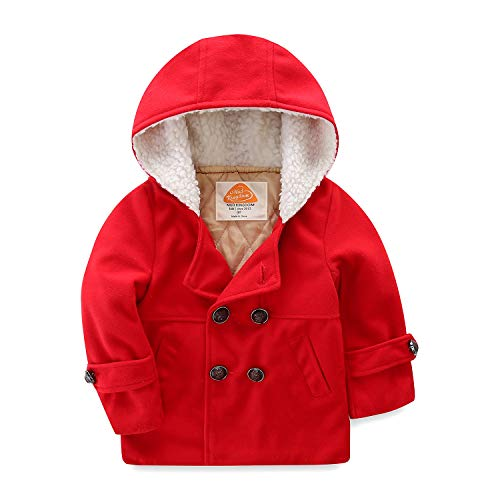 Mud Kingdom Toddler Boy Dress Coats with Hood Faux Wool 2T Red