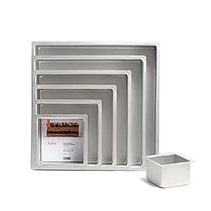Decora Bandeja cuadrada Profesional, anodizado de aluminio, plata, 15 x 15 x 10 cm
