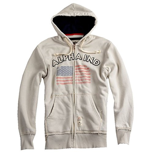 Alpha Ind. Capucha Chaqueta - Flag Zip Hoody Off White ...