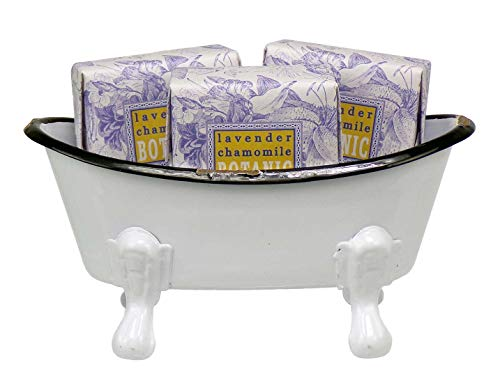 Mini Metal Bathtub Gift Set with 3 Shea Butter Moisturizing Soaps (Lavender Chamomile)