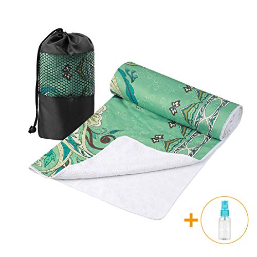 """Aqui Legend Hot Yoga Towel, Extra Thick Super Absorbent Yoga Towel, Non Slip Waffle Texture, Perfect Size for Mat - Ideal for Gym Hot Yoga & Pilates (Flowering, 72""""×24"""")"""